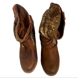 Not Rated brown sequin ankle boots Size 8.5